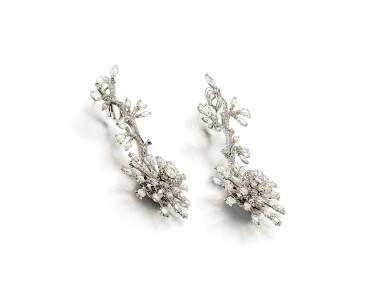 View 4. Thumbnail of Lot 1416. VAK | 'CHRYSANTHEMUMS IN SUMMER' PAIR OF DIAMOND PENDENT EARRINGS |  VAK | 'Chrysanthemums in Summer' 鑽石吊耳環一對.