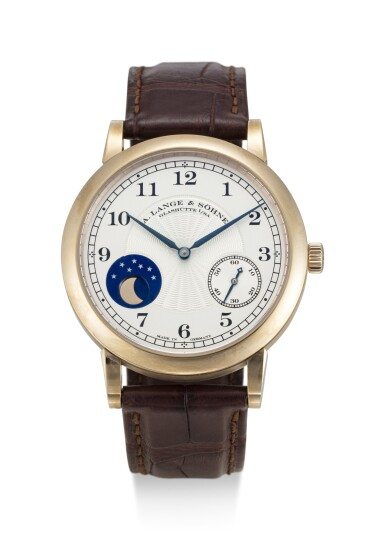 View 1. Thumbnail of Lot 62. A. LANGE & SÖHNE | 1815 HOMAGE TO F.A LANGE 1815 MOONPHASE, REFERENCE 212.050, A LIMITED EDITION HONEY GOLD WRISTWATCH WITH HACKING FEATURE AND MOON PHASES, MADE TO COMMEMORATE THE 165TH ANNIVERSARY OF A. LANGE & SÖHNE IN 2010, CIRCA 2011.
