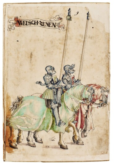 View 9. Thumbnail of Lot 9. WORKSHOP OF HANS BURGKMAIR THE ELDER | A 'TOURNAMENT BOOK', WITH 16 NUMBERED SHEETS OF DRAWINGS OF KNIGHTS, MOSTLY ON HORSEBACK, IN PAIRS .