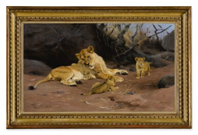 View 2. Thumbnail of Lot 60. WILHELM KUHNERT | A LIONESS AND HER CUBS.