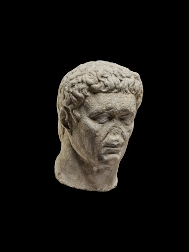 View 5. Thumbnail of Lot 75. A Monumental Marble Portrait Head of the Emperor Nerva, late 1st Century A.D..