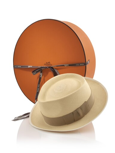 Panama straw weave and silk 'Fedora' hat , Hermès