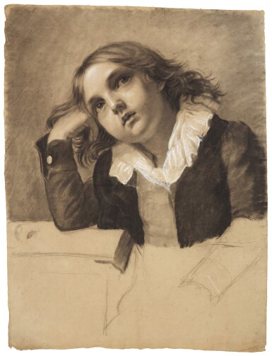 View 1. Thumbnail of Lot 22. PAULINE AUZOU     PORTRAIT OF A SEATED BOY, SUPPORTING HIS RIGHT ELBOW.