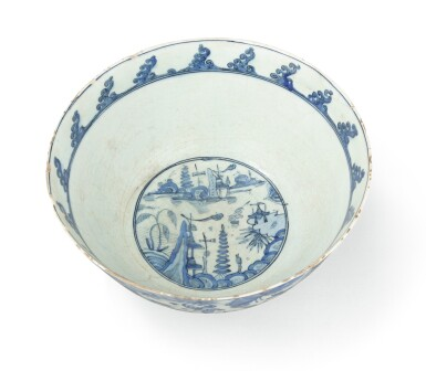 View 3. Thumbnail of Lot 282. A Monumental Safavid Blue and White Pottery Bowl, Persia, 17th Century.