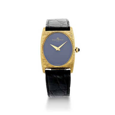 View 1. Thumbnail of Lot 1056. REFERENCE 37073 A YELLOW GOLD OVAL WRISTWATCH WITH LAPIS LAZULI DIAL, CIRCA 1980.