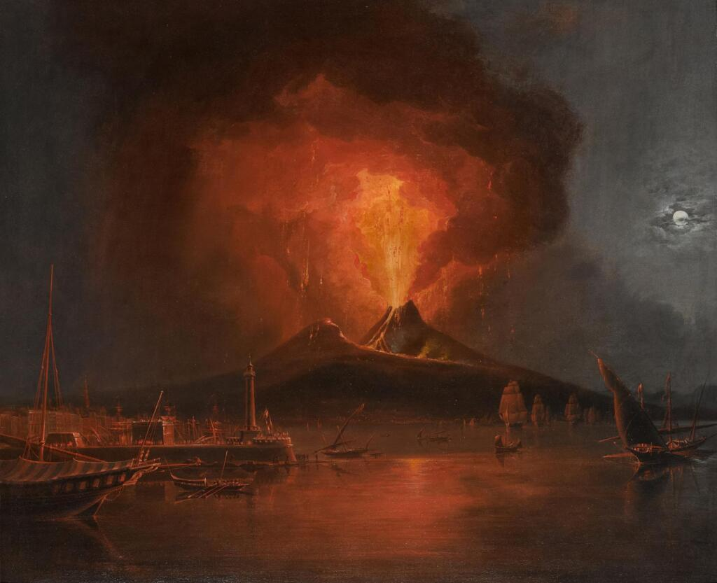 C. JOHN M. WHICHELO | A moonlit view over the bay of Naples, with the eruption of Vesuvius on 22 February 1822
