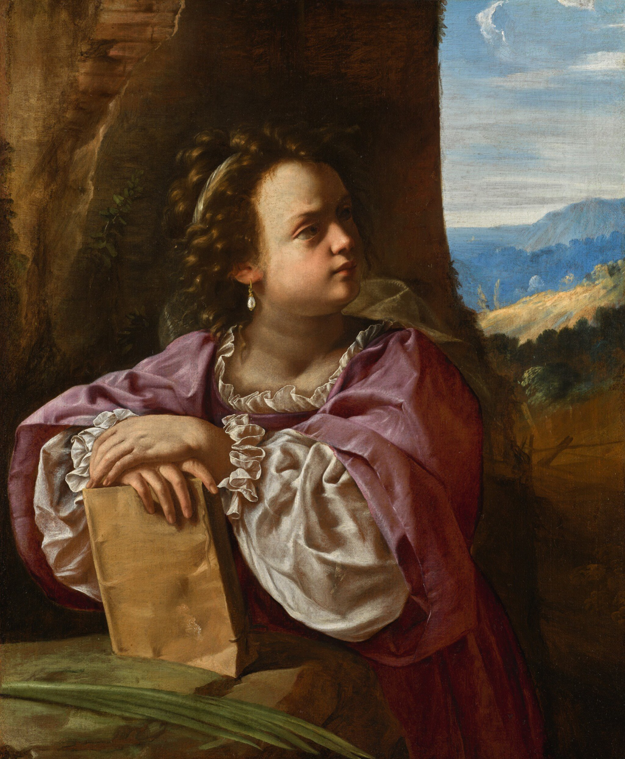 ARTEMISIA GENTILESCHI | A female martyr saint, probably Saint Catherine of Alexandria | 阿爾泰米西婭・真蒂萊斯基 | 《殉道聖女,應為亞歷山大的聖加大肋納》