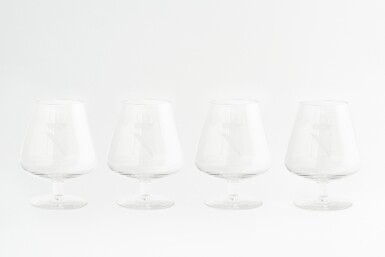 A SET OF FOUR GERMAN 'NAPOLEON' BRANDY GLASSES