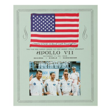 [APOLLO 7]. FLOWN UNITED STATES FLAG, CARRIED ON APOLLO 7 BY WALTER CUNNINGHAM