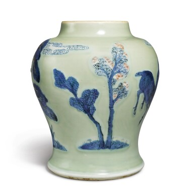 View 4. Thumbnail of Lot 143. An underglaze-blue, copper-red, and celadon-glazed jar, Qing dynasty, Kangxi period   清康熙 豆青地青花釉裏紅松下高士圖罐.