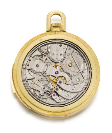 A RARE AND FINE GOLD OPEN-FACED MINUTE REPEATING PERPETUAL CALENDAR KEYLESS LEVER WATCH WITH MOON PHASES 1938, REF. 699, MOVEMENT NO. 860860 CASE NO. 619395 [百達翡麗罕有黃金三問萬年曆懷錶備月相顯示,1938年製,編號699,機芯編號860860,錶殼編號619395]
