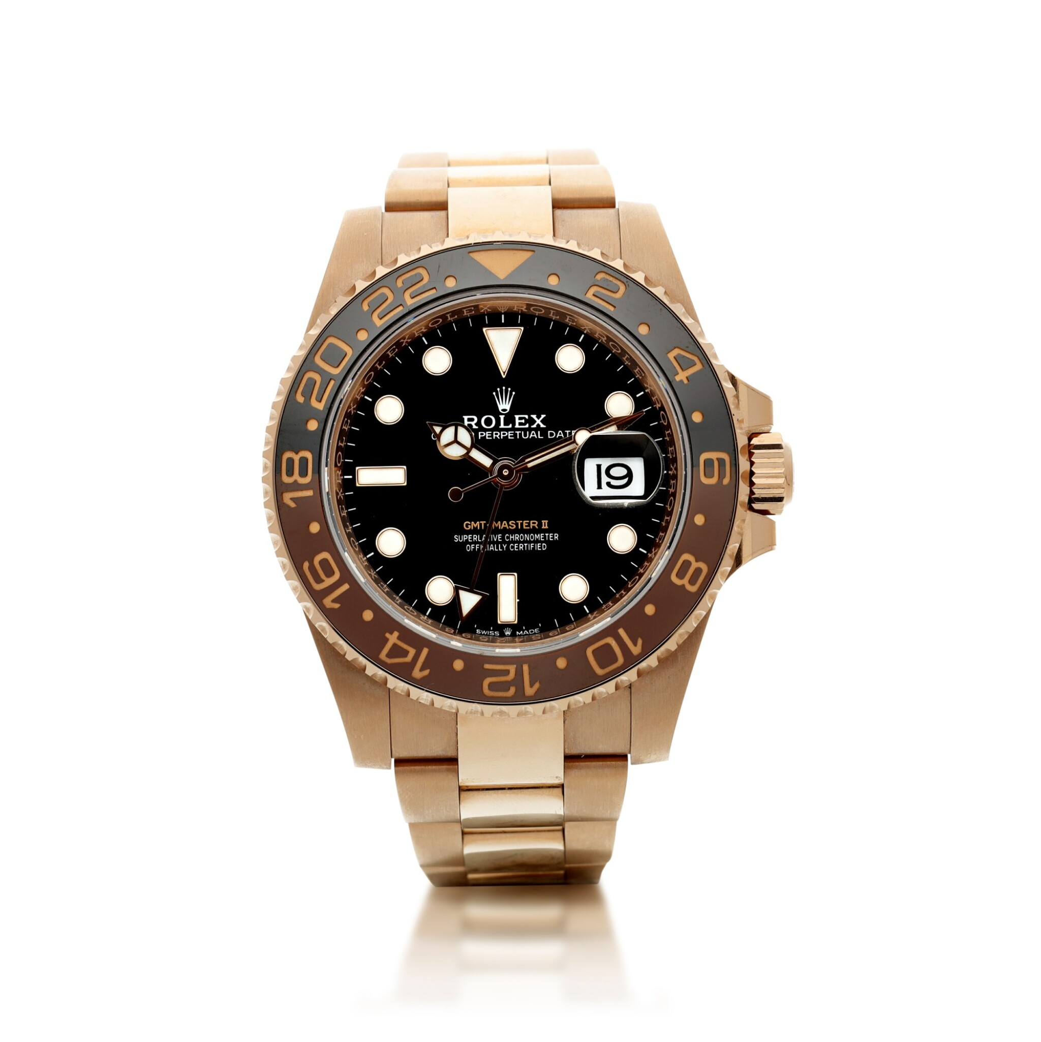 View full screen - View 1 of Lot 15. ROLEX | REFERENCE 126715 GMT-MASTER II 'ROOT BEER' A PINK GOLD AUTOMATIC DUAL TIME ZONE WRISTWATCH WITH DATE AND BRACELET, CIRCA 2018.