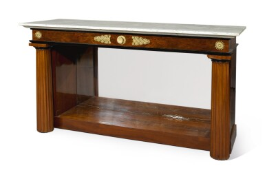 View 2. Thumbnail of Lot 239. AN EMPIRE STYLE GILT BRONZE-MOUNTED MAHOGANY CONSOLE TABLE.