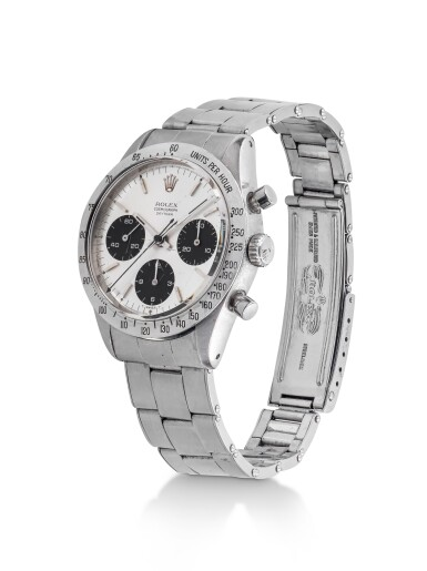 View 2. Thumbnail of Lot 5. ROLEX | 'SMALL' DAYTONA, REF 6239 STAINLESS STEEL CHRONOGRAPH WRISTWATCH WITH BRACELET  CIRCA 1966.