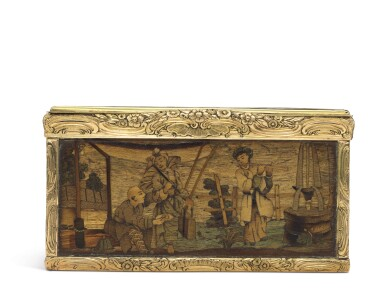 View 4. Thumbnail of Lot 11. A rare marquetry fruitwood snuff box with gold mounts, German, circa 1765.