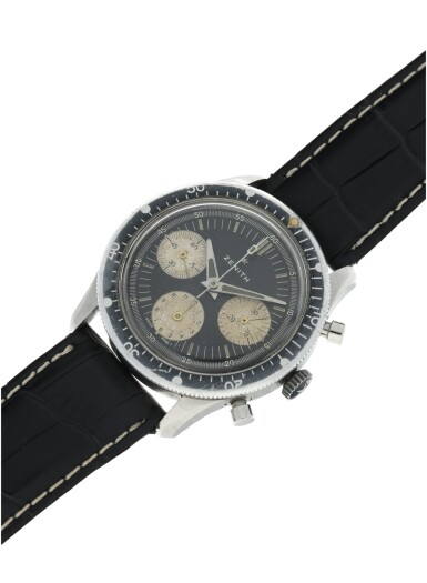 View 4. Thumbnail of Lot 81. ZENITH | A STAINLESS STEEL CHRONOGRAPH WRISTWATCH, CIRCA 1970.