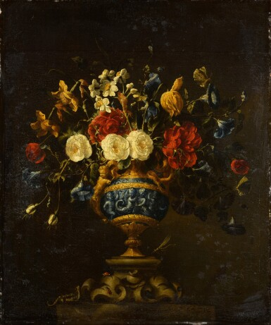 View 4. Thumbnail of Lot 42. A pair of floral still lifes, in lapis and bronze vases on stone plinths | 《靜物畫一對:石基座上的青銅鑲青金石瓶花》.