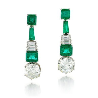 View 1. Thumbnail of Lot 91. PAIR OF DIAMOND AND EMERALD EARRINGS.