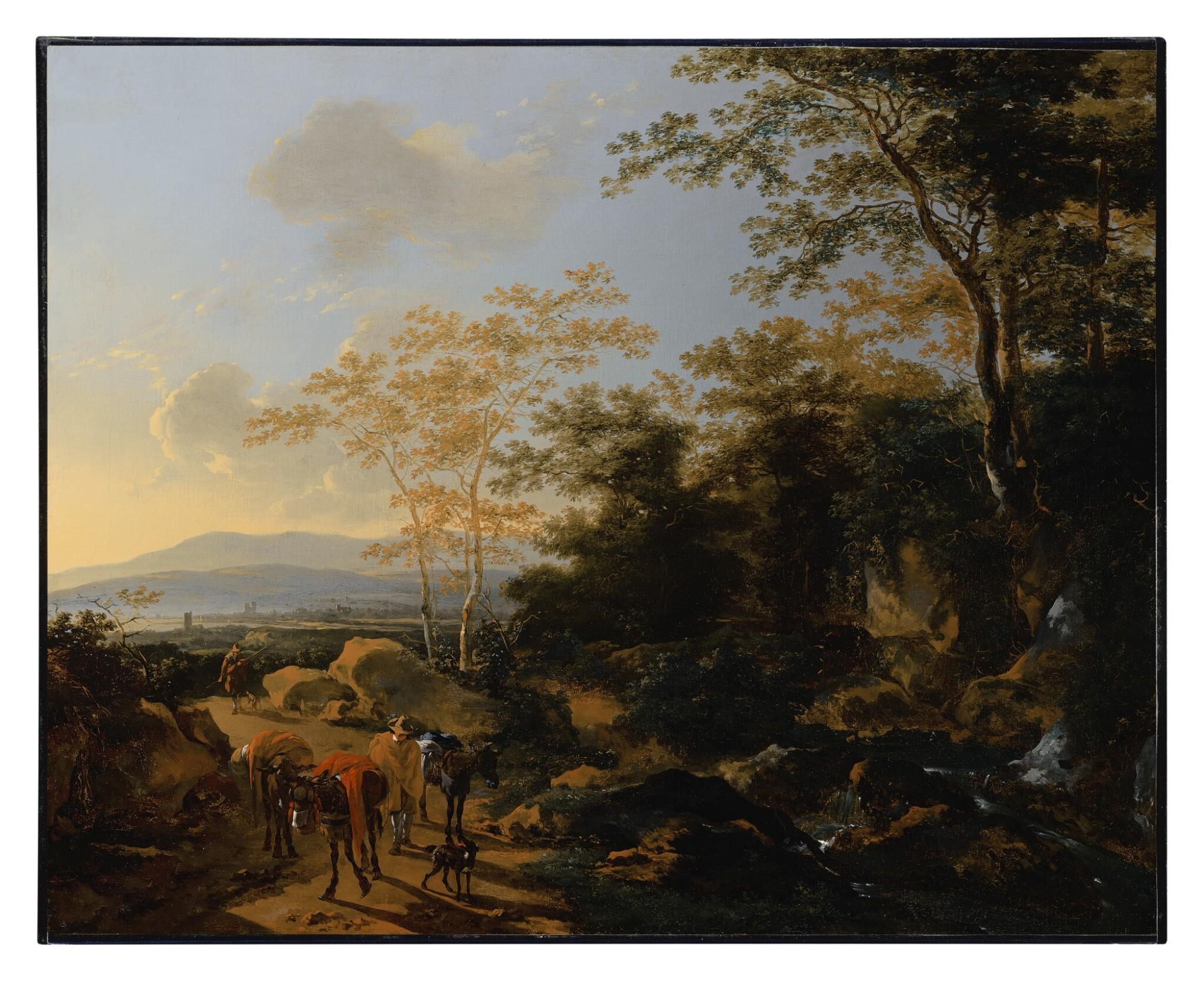 An Italianate landscape with travelers and mules by a waterfall