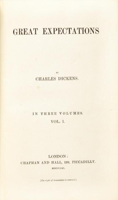 Dickens, Great Expectations, 1861, first edition, first impression, original cloth
