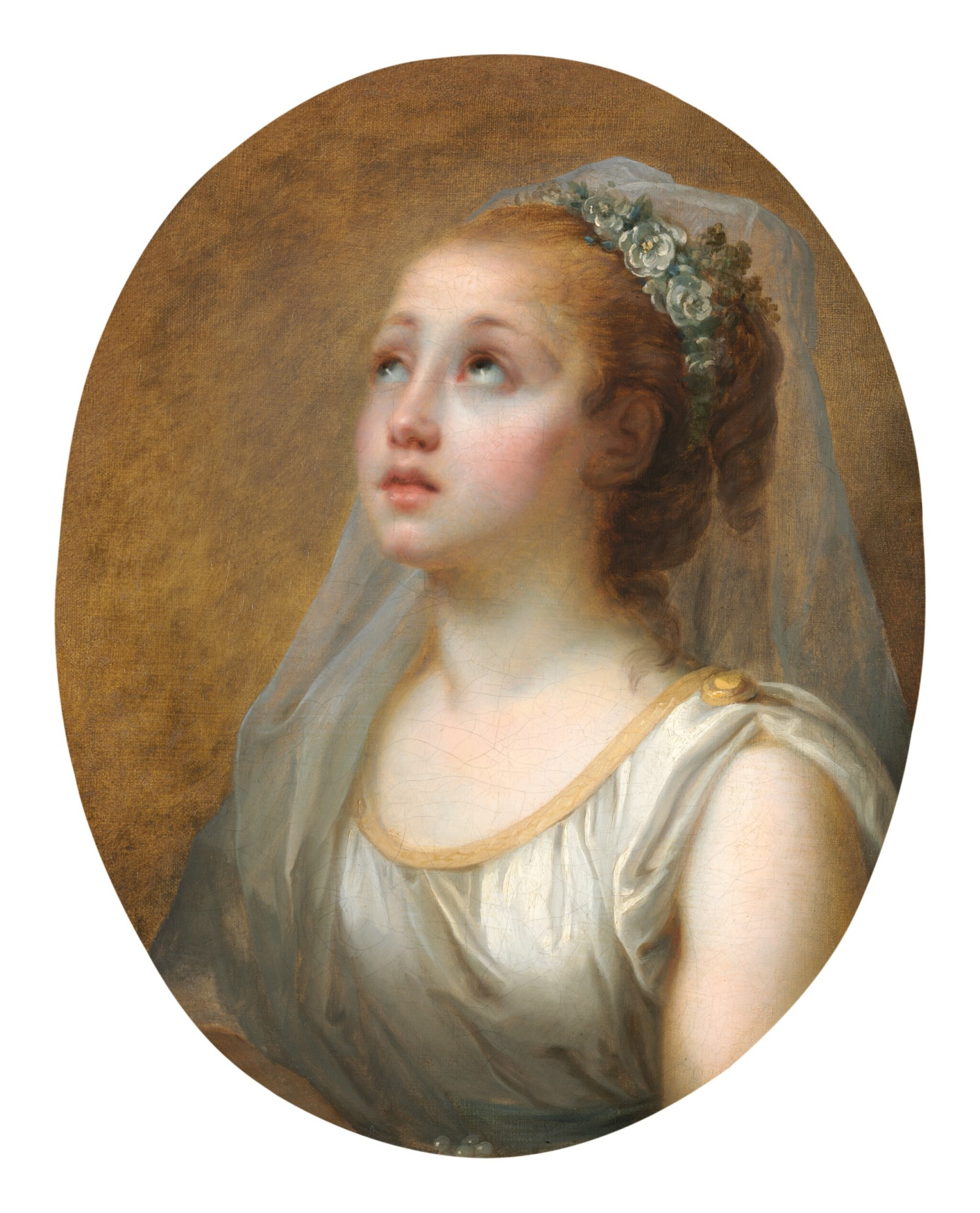 View full screen - View 1 of Lot 147. ELISABETH-LOUISE VIGÉE LE BRUN     YOUNG GIRL IN ANTIQUE COSTUME WITH HER HEAD VEILED AND CROWNED WITH WHITE SWEETBRIAR BLOSSOMS.