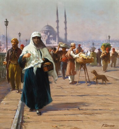 View full screen - View 1 of Lot 13. FAUSTO ZONARO | ON THE GALATA BRIDGE, CONSTANTINOPLE.