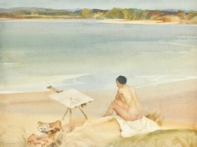 SIR WILLIAM RUSSELL FLINT, R.A., P.R.W.S. | Model on the Beach