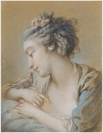 FRANÇOIS BOUCHER | HEAD-AND-SHOULDERS STUDY OF A YOUNG WOMAN WITH A BIRD ON HER RIGHT WRIST