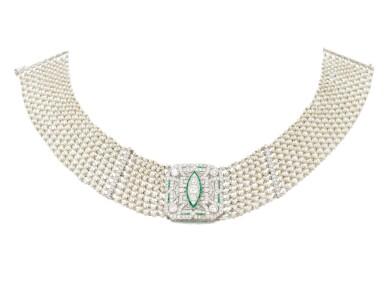 View 2. Thumbnail of Lot 145. Seed pearl, diamond and emerald collier de chien (Collana in microperle, diamanti e smeraldi).
