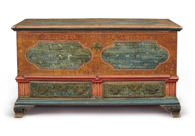View 2. Thumbnail of Lot 356. Federal Polychrome Paint-Decorated Poplar Blanket Chest with Two Drawers, Lancaster County, Pennsylvania, Circa 1780.
