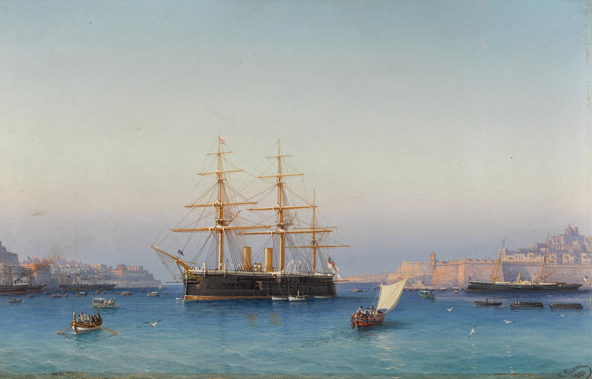 View full screen - View 1 of Lot 151. HMS Alexandra in the Grand Harbour of Valletta, Malta.
