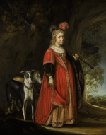 JOHANN SPILBERG | PORTRAIT OF A YOUNG GIRL AS A HUNTRESS, WITH TWO HOUNDS IN A LANDSCAPE
