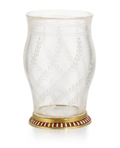 View 2. Thumbnail of Lot 42. A Fabergé en plein enamel gold-mounted rock crystal vase, workmaster Michael Perchin, St Petersburg, 1899-1903.