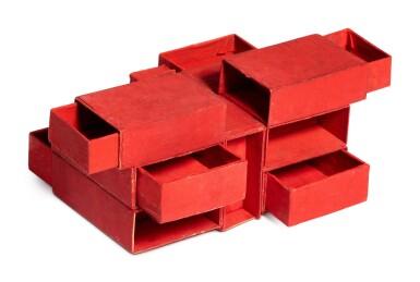 View 3. Thumbnail of Lot 237. Estrutura de caixas de fósforos vermelho (7 caixas).
