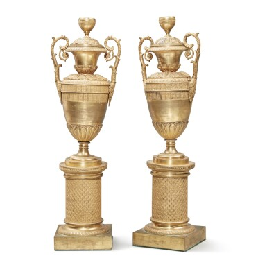 View 2. Thumbnail of Lot 102. A Pair of Restauration Gilt Bronze Vases, 19th Century.