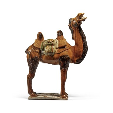View 5. Thumbnail of Lot 180. A sancai-glazed pottery figure of a camel, Tang dynasty   唐 三彩駱駝.
