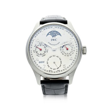View 1. Thumbnail of Lot 23. IWC   REFERENCE IW5023-08 PORTUGIESER   A STAINLESS STEEL AUTOMATIC PERPETUAL CALENDAR WRISTWATCH MOON PHASES AND POWER RESERVE INDICATION, CIRCA 2015.