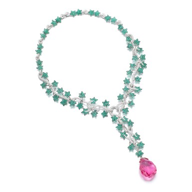 View 1. Thumbnail of Lot 1082. Emerald, tourmaline and diamond pendent necklace.