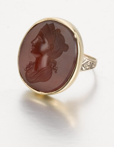 View 2. Thumbnail of Lot 91. ITALIAN, PROBABLY EARLY 19TH CENTURY | INTAGLIO WITH A LADY WEARING A TIARA, POSSIBLY FAUSTINA THE ELDER.