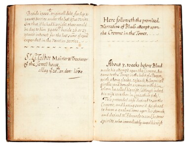"""TALBOT   """"Of the Jewell House"""", with """"Blud''s attempt upon the Crowne in the Tower"""", manuscript, late 17th century"""