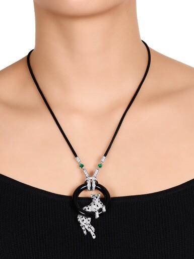 View 3. Thumbnail of Lot 1662. Cartier | 'Pantheré' Diamond, Onyx and Emerald Pendent Necklace | 卡地亞 | 'Pantheré' 鑽石 配 縞瑪瑙 及 祖母綠 項鏈.