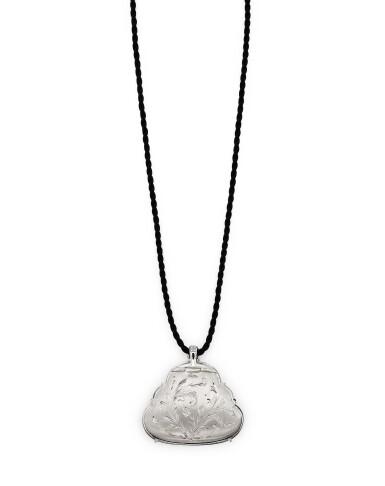 View 2. Thumbnail of Lot 1686. Jadeite 'Buddha' and Diamond Pendent Necklace | 天然翡翠雕「彌勒佛」 配 鑽石 項鏈.