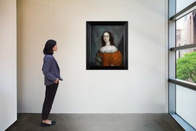 View 4. Thumbnail of Lot 8. CORNELIUS JOHNSON | A portrait of a lady, half-length, wearing an orange silk dress and a green silk shawl.