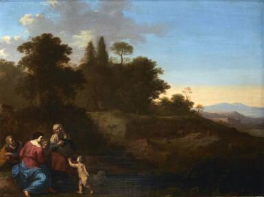 CORNELIS VAN POELENBURGH | THE HOLY FAMILY WITH SAINT ELIZABETH AND SAINT JOHN IN A PASTORAL LANDSCAPE