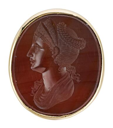 ITALIAN, PROBABLY EARLY 19TH CENTURY | INTAGLIO WITH A LADY WEARING A TIARA, POSSIBLY FAUSTINA THE ELDER