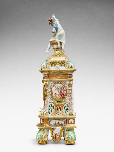 View 3. Thumbnail of Lot 64. A highly important documentary and dated Meissen mantel clock case, Dated 1727, the gilt-bronze mount probably German, mid-18th century, the movement signed Barrey à Paris, Circa 1700 .