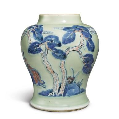 View 3. Thumbnail of Lot 143. An underglaze-blue, copper-red, and celadon-glazed jar, Qing dynasty, Kangxi period   清康熙 豆青地青花釉裏紅松下高士圖罐.