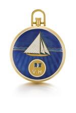 A RARE GOLD AND ENAMEL OPEN-FACED KEYLESS LEVER CHRONOGRAPH WATCH MADE FOR THE YACHT CLUB DE FRANCE CIRCA 1922, NO. 12274 [卡地亞/歐洲鐘錶公司罕有黃金畫琺瑯計時懷錶,為法國遊艇會製造,年份約1922,編號12274]