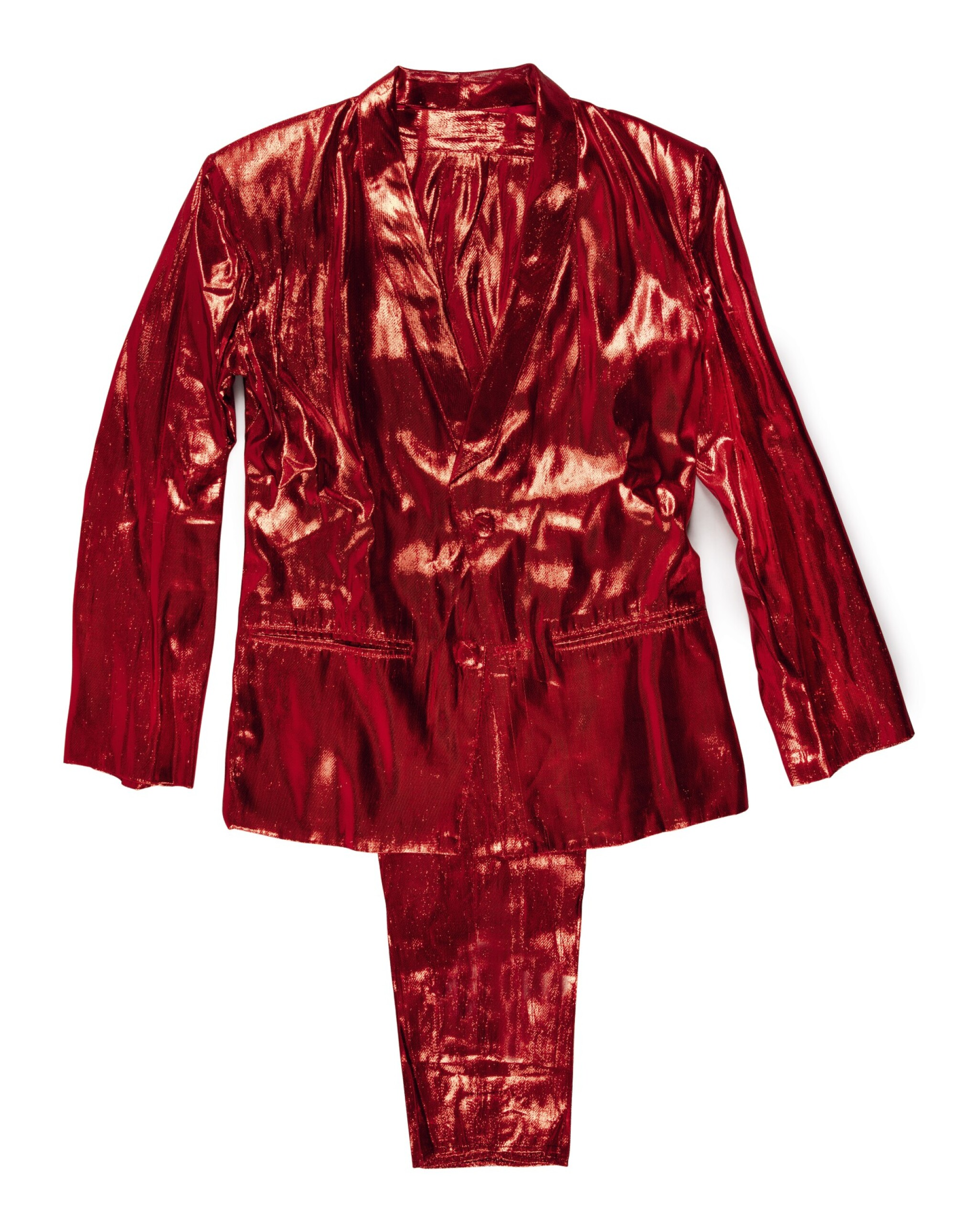 """View full screen - View 1 of Lot 97. DR. DRE'S SHINY RED WORLD CLASS WRECKIN' CRU """"RAPPED IN ROMANCE"""" SUIT, CA 1985-86."""
