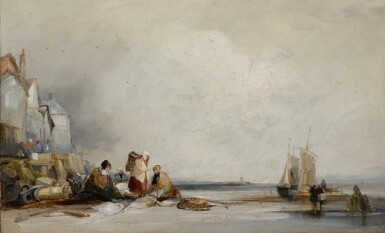 View 1. Thumbnail of Lot 216. FOLLOWER OF RICHARD PARKES BONINGTON | A beach scene in Fécamp.